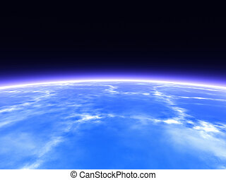 Horizon - Earth from Space. 3D rendered Horizon line.
