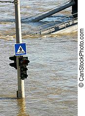 flood - traffic lamp in flood