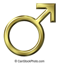 3D Golden Male Symbol