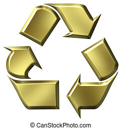 3D Golden Recycle Symbol