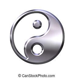 3D Silver Tao Symbol