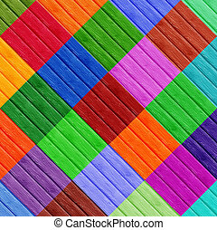 Colorfull Diamond Shapes on Wooden Surface