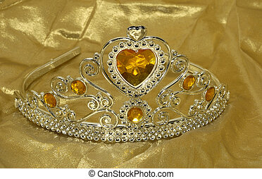 Tiara - Photo of a SIlver Tiara on a Gold Background -...