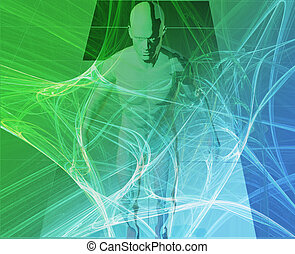 Digital journey - A man surrounded by information green blue...