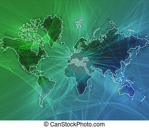 World data transfer green - Data transfer over a map of the...