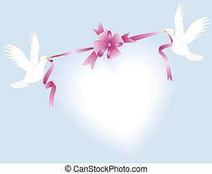 Couple Doves - Doves, ribbon, bow and white heart on blue...
