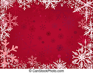 Snow Border Red - Border of snowflakes fading into a red...