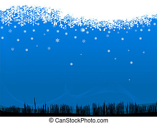 Falling Snow - Snowflakes falling on a grassy landscape