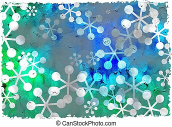 grunge snowflakes - dirty stained grunge textured retro...