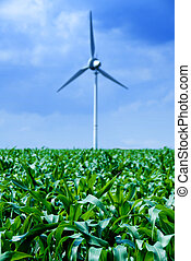 Wind power - clean energy white wind turbine in corn field