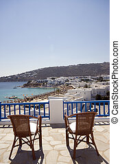 view from hotel suite of greek island beach - greek island...