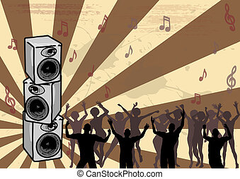 Boom Box - Dancers on a retro background