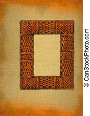 rattan frame against stained retro background