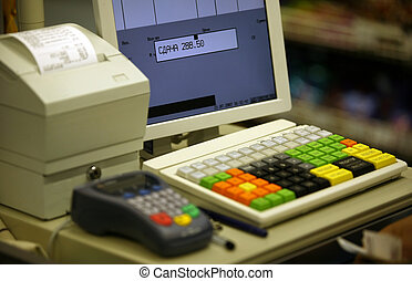 Cash register in shop and credit card register