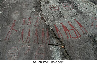 Rock carvings - Bronze age Petroglyphs carved in a Norwegian...
