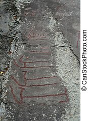 Old rock carvings - Rock carvings from the bronze age in...