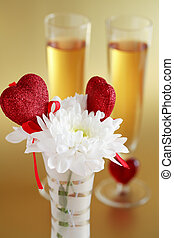 Valentine detail - Two glasses of champagne or wine with...