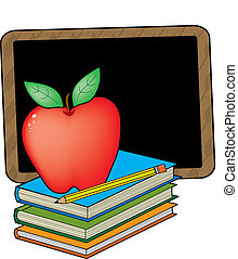 School Books - A stack of books with an apple and blackboard...