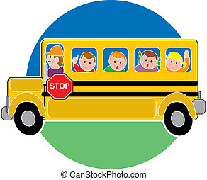 School Bus - Children in a bus riding to school