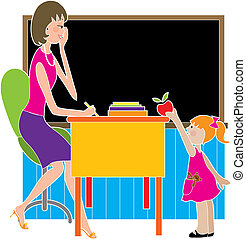 School Kid Apple - A little girl is giving her teacher an...