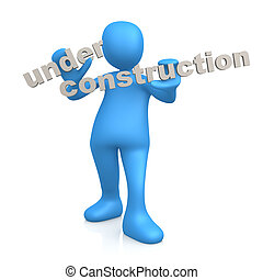 Under Construction - 3d person holding the text Under...