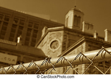 sepia jail - sepia toned image of the suffolk county jail,...