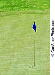 Blue Flag - Blue flag on the 18th hole of a golf course