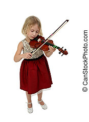 Beautiful Girl with Violin - Blond six year old girl plays...