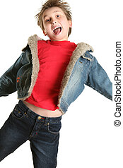 Exuberant Child Jumping for Joy - Child wearing plain red...