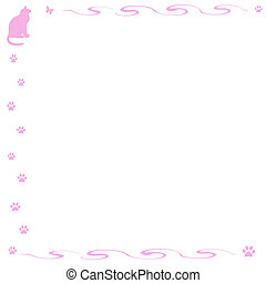 kitty cat scrapbook - pink cat and vines frame white...