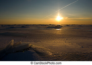 winter sunset - sunset at baltic sea in the winter.
