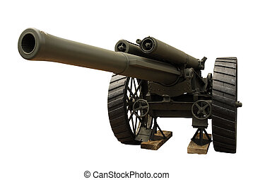 Howitzer cannon gun - Shot of the russian cannon from second...