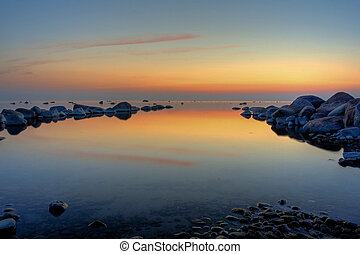 calmness - sunset at baltic sea coast