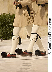 Greek honor guards - Guards (Evzones) in front of the Tomb...