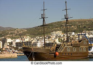Greek schooner - Close view of a typical greek schooner in...