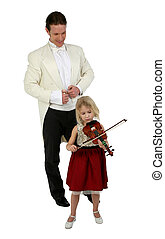 Music Lessons - Blond six year old girl plays violin for man...