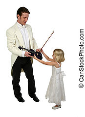 Music Lessons - Blond girl in formal dress receives violin...