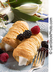 cream puffs pastry - cream filled pastry rolls