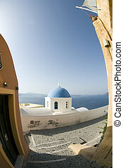 greek church and bell tower - greece greek island church...