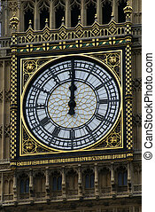 Big Ben - Face of Big Ben in London at 12 o\\\'clock Midday