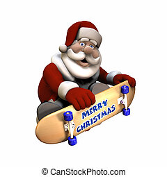 Rad Santa 1 - Santa Doing Tricks on a Skateboard