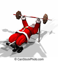 Santa Fitness 4 - Santa Working Out by Lifting Weights....