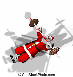 Santa Fitness 3 - Santa Working Out by Lifting Weights....