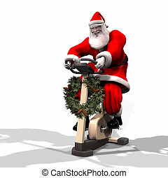 Santa Fitness 2 - Santa Working Out on a Bike Trainer....