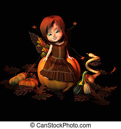Autumn Sprite sitting atop a pumpkin surrounded by fall...
