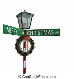 Christmas Street Sign - Merry Christmas Street Sign with...