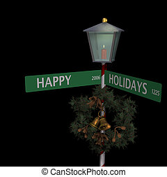 Happy Holidays Street Sign with lit lantern and wreath on...