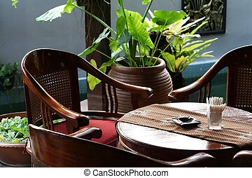 Balinese table - Wooden table and chairs in tropical...