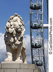South Bank Lion and London Eye - South Bank Lion on...