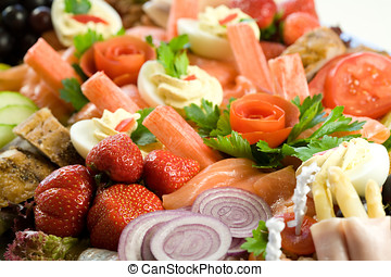 Delicious food salad - Delicious salad on a platter filled...